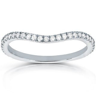 Annello by Kobelli 14k White Gold 1/5ct TDW Curved Diamond Wedding Band Ring (G-H, I1-I2)