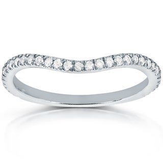 Annello By Kobelli 14k White Gold 1 5ct TDW Curved Diamond Wedding Band Ring