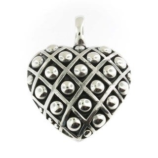 Handmade Sterling Silver Dotted Heart Pendant (Thailand)