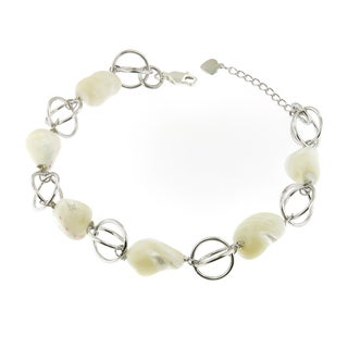 Handcrafted .925 Sterling Silver and Mother of Pearl Link Bracelet (Thailand)