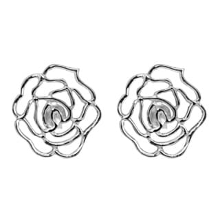 Delicate Rose Outline Flower Sterling Silver Post Earrings (Thailand)