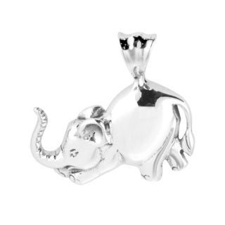 Lovable Bowing Elephant Sterling Silver Pendant (Thailand)