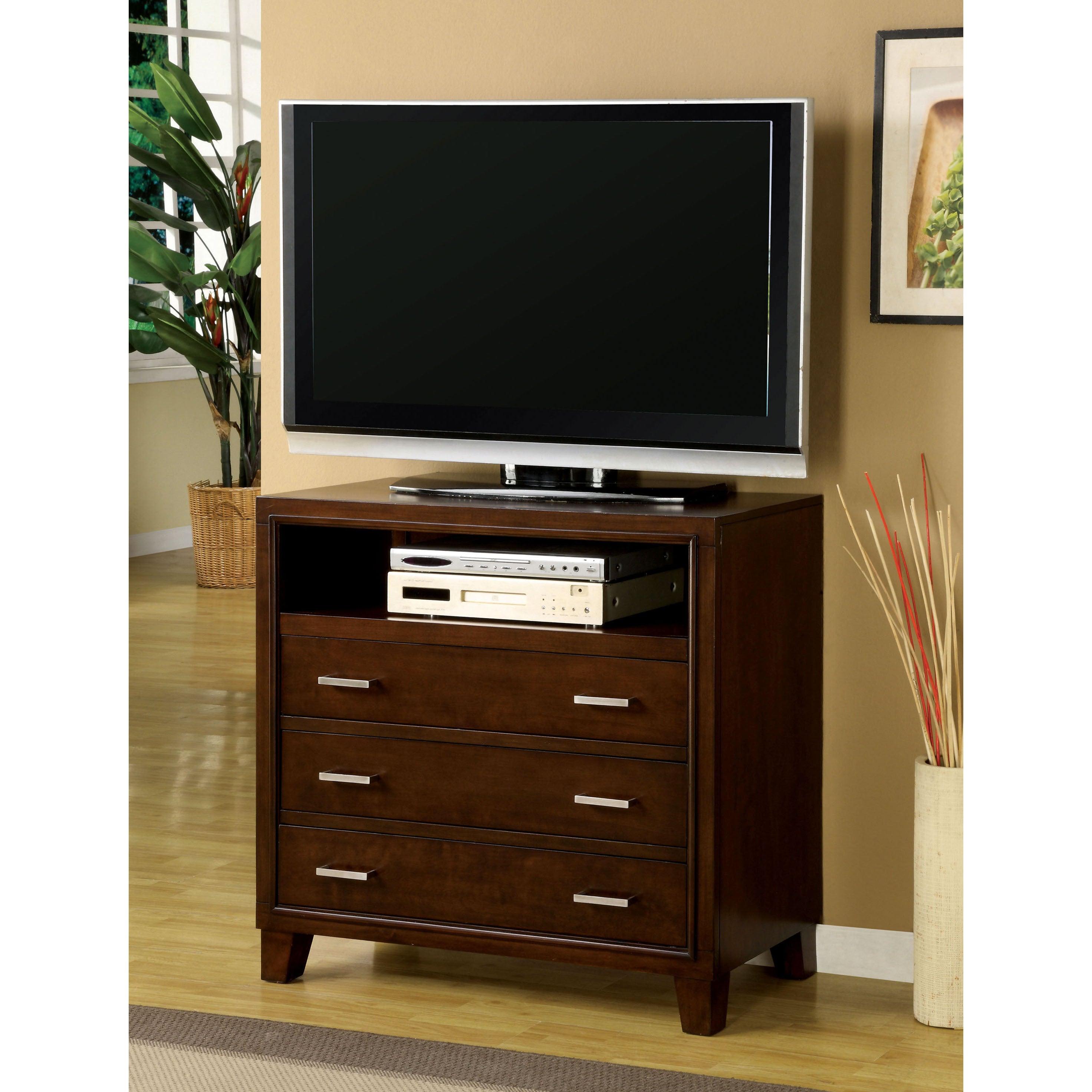 Furniture of America Sunjan Brown Cherry 3-Drawer Media C...