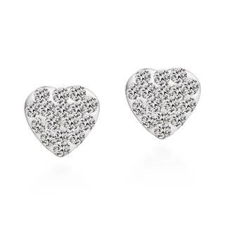 Handmade Sparkling Heart Cubic Zirconia .925 Silver Stud Earrings (Thailand)
