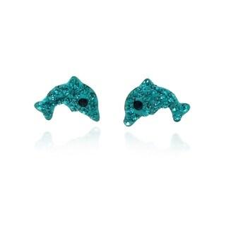 Handmade Cute Jumping Dolphin Cubic Zirconia .925 Silver Earrings (Thailand)