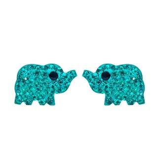 Elephant Inspired Blue Green CZ .925 Silver Stud Earrings (Thailand)