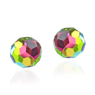 Handmade Colorful Crystal Ball .925 Silver Stud Earrings (Thailand)