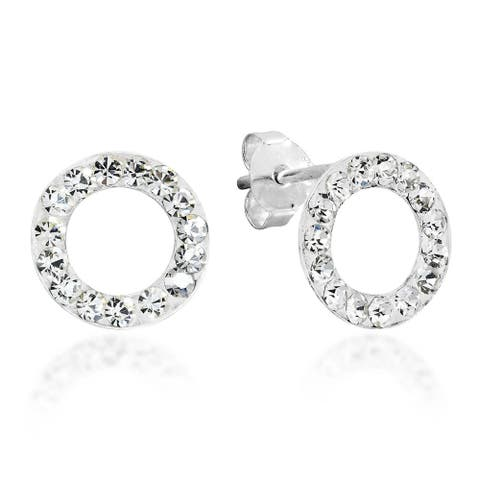 Handmade Circle White Cubic Zirconia .925 Sterling Silver Earrings (Thailand)