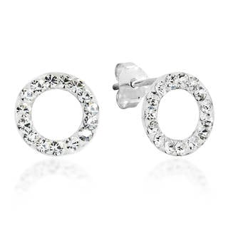 Handmade 10mm Circle White CZ .925 Sterling Silver Earrings (Thailand)