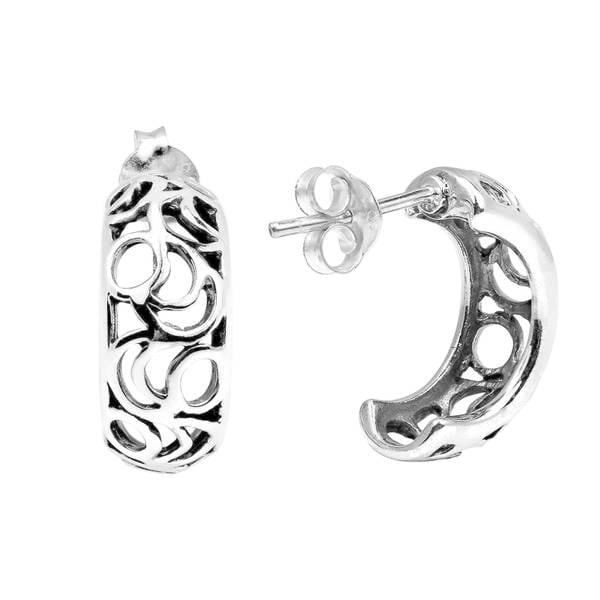 Sterling Silver Half Moon Earrings - Black Crescent u7wmbr