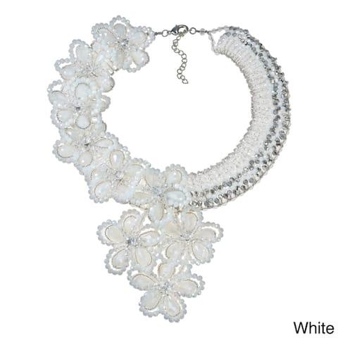 Handmade Infinite Blossoms Dazzling Crystals Statement Necklace (Thailand)