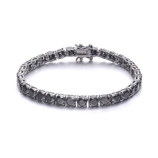 Collette Z Black Plated Stering Silver Cubic Zirconia Tennis Bracelet