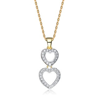 Collette Z Two-tone Sterling Silver Double Heart Necklace