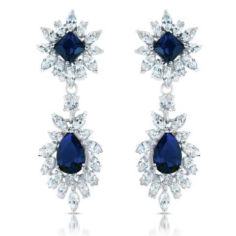 Collette Z Sterling Silver Cubic Zirconia Elegant Dangle Earrings