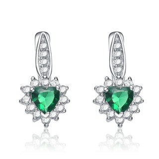 Collette Z Sterling Silver Green Cubic Zirconia Heart Drop Earrings