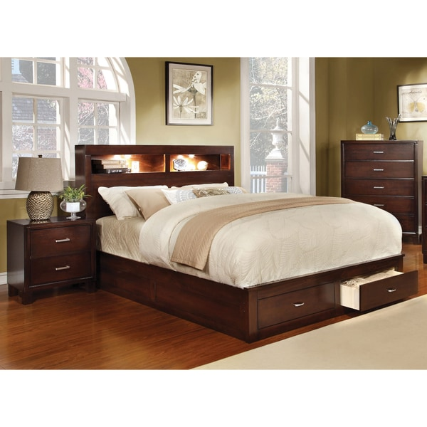 furniture of america clement 3 piece storage bedroom set with lighting
