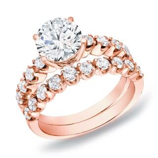 Auriya 14k Rose Gold 2ct TDW Certified Diamond Bridal Ring Set (H-I, SI1-SI2)