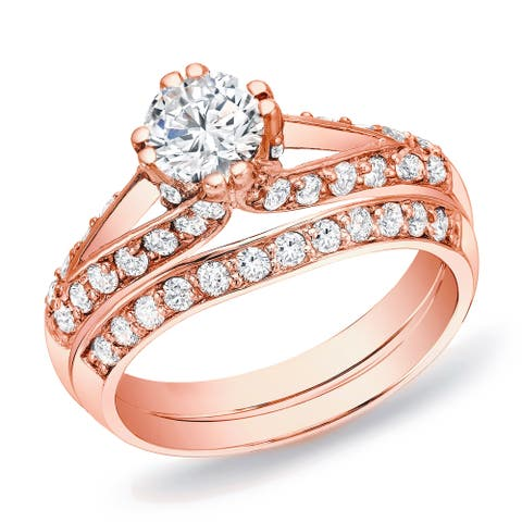Auriya 14k Rose Gold 1 1/4ctw Unique Round Diamond Engagement Ring Set