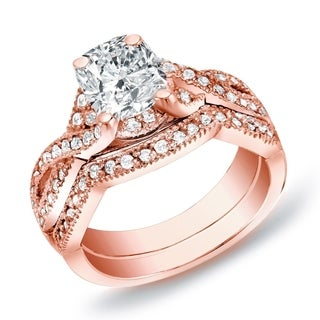 Auriya 14k Rose Gold 1ct TDW Certified Cushion Diamond Bridal Ring Set