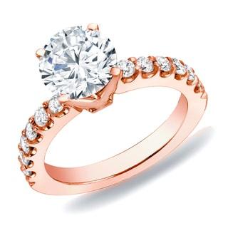 Auriya 14k Rose Gold 1ct TDW Diamond Solitaire Engagement Ring