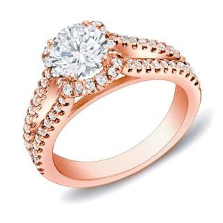Auriya 14k Rose Gold 1 1/4 ct TDW Round Certified Diamond Engagement Ring