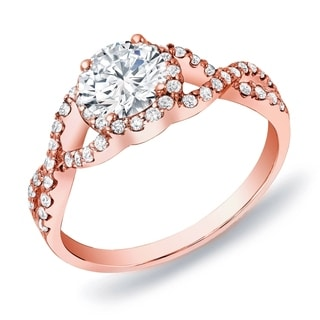 Auriya 14k Rose Gold 3/4ct TDW Certified Braided Twist Diamond Halo Engagement Ring