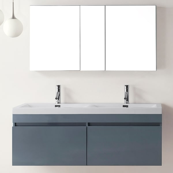 Shop virtu usa zuri 55 inch grey double sink bathroom vanity set free shipping today for 55 inch double sink bathroom vanity
