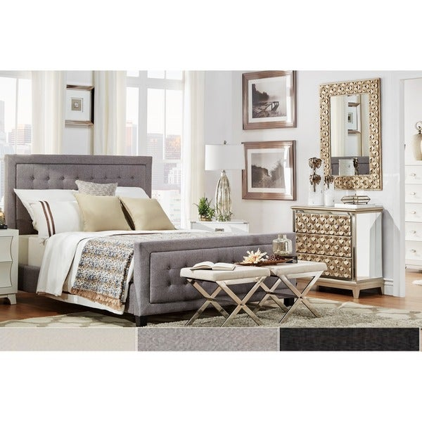 Bellevista Square Button Tufted Upholstered Platform Bed With Footboard By  INSPIRE Q Bold