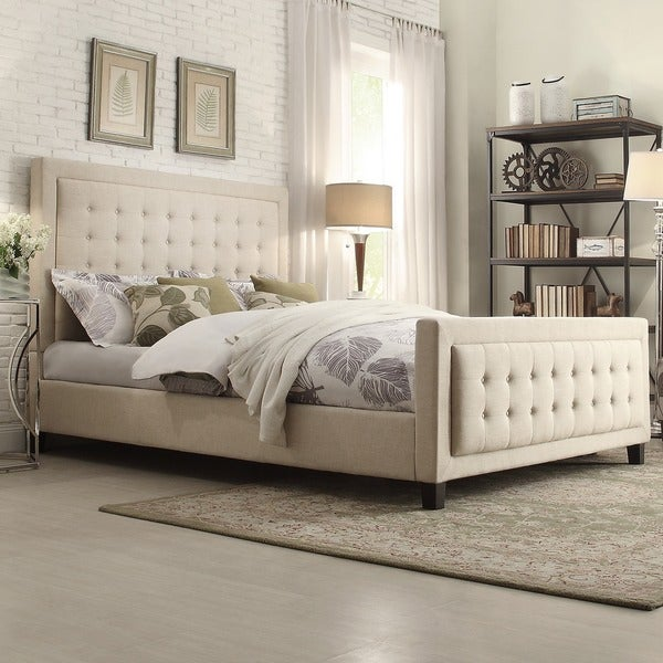 inspire q bellevista square button tufted upholstered full size bed with footboard free. Black Bedroom Furniture Sets. Home Design Ideas