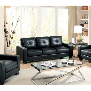 Furniture of America Dresford Tufted Black Bonded Leather Match Sofa