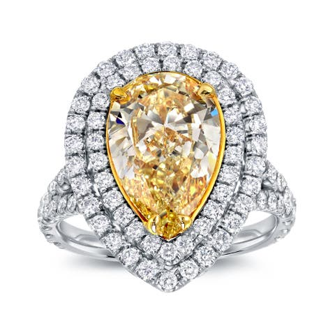 Auriya 18k Two-tone Gold 4ct TDW Fancy Yellow Diamond Pear Shape Halo Engagement Ring - White
