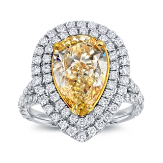 Auriya 18k Two-tone Gold 4ct TDW Fancy Yellow Diamond Pear Halo Ring (D-E, SI1-SI2)
