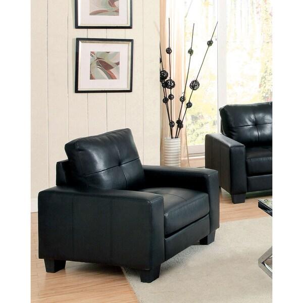 Shop Furniture Of America Dresford Tufted Black Bonded