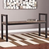 Holly and Martin Burnt Oak/Metal Abachi Bench