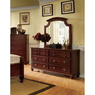 Furniture of America Alianess Cherry 2-piece Dresser and Mirror Set