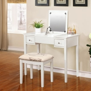 Linon Alessandra White Vanity Table with Mirror & Stool