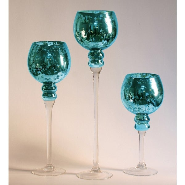 3 Piece Blue Mercury Glass Stem Vase Set Free Shipping