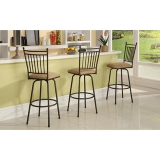 Linon Brown Adjustable Height Metal Swivel Barstools (Set of 3)