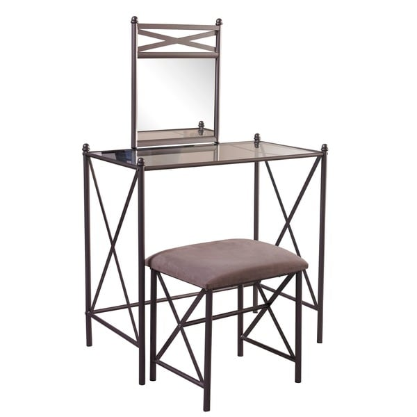 Linon Jackson Vanity Set With Mirror Reviews: Shop Linon Hollywood Vanity Table, Stool & Mirror