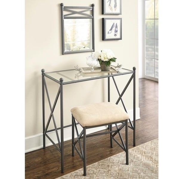 Shop Linon Hollywood Vanity Table, Stool & Mirror