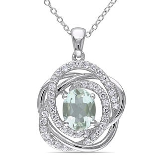 Miadora Sterling Silver Green Amethyst and White Topaz Necklace