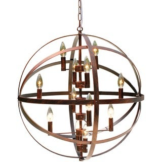 Wrought Iron Antique Bronze 12-light Globe Chandelier
