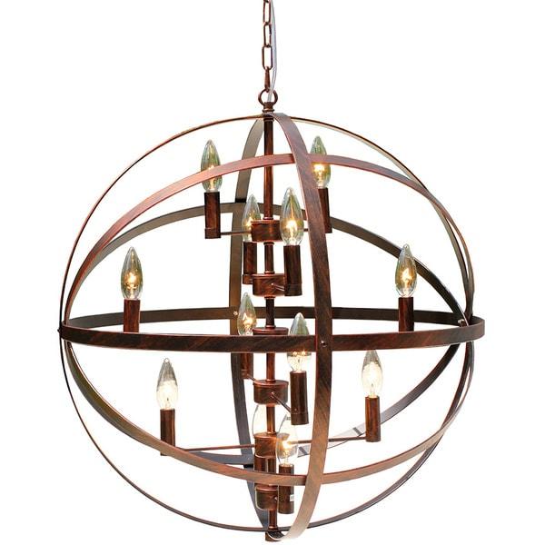 Wrought Iron Antique Bronze 12 Light Globe Chandelier