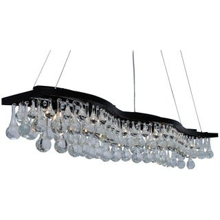 48-inch Double S Glass Drop Rectangular 6-light Chandelier
