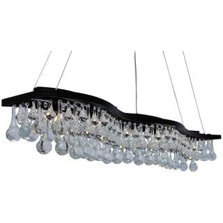 48-inch Double S Glass Drop Rectangular 6-light Chandelier