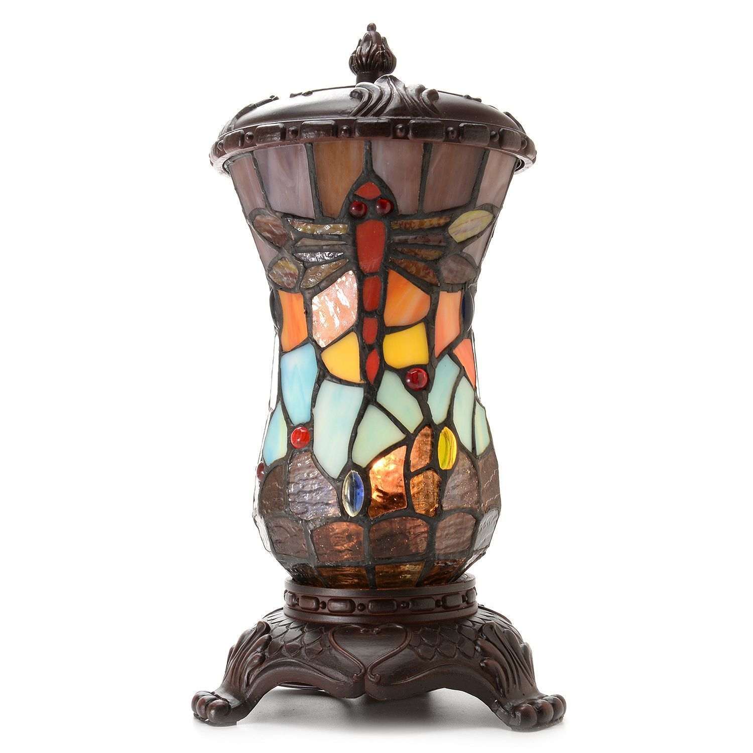 Warehouse of Tiffany Tiffany-style Dragonfly Urn Accent L...