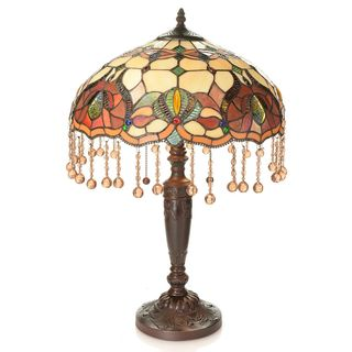 Tiffany-style Hand-Strung Beaded Stained Glass Table Lamp
