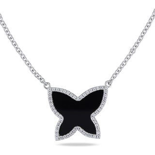 Miadora Sterling Silver Black Onyx and Cubic Zirconia Butterfly Necklace