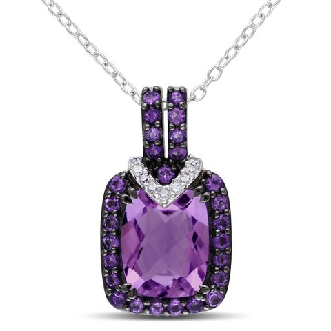 Miadora Silver 3 1/8ct TGW Amethyst and Diamond Accent Necklace