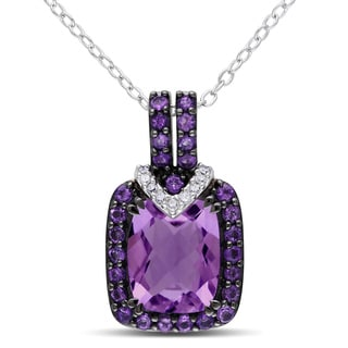 Miadora Silver 3ct TGW Amethyst and Diamond Accent Necklace
